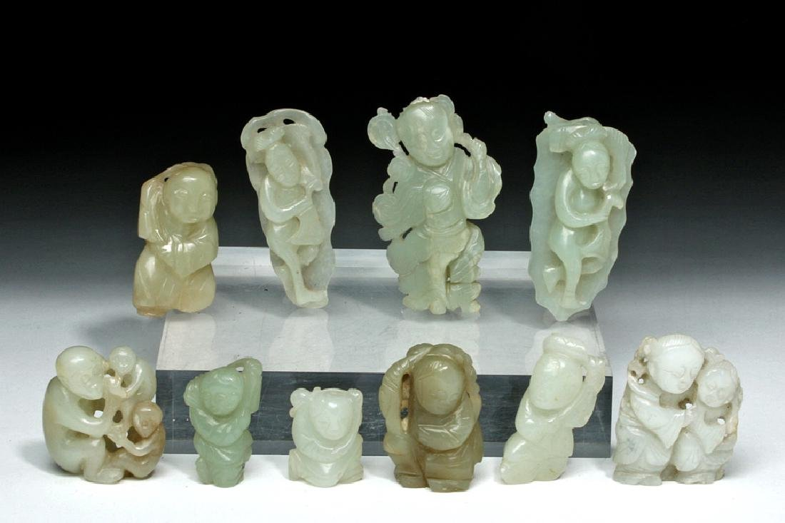 Group of Ten Chinese Qing Jade Carvings - 2