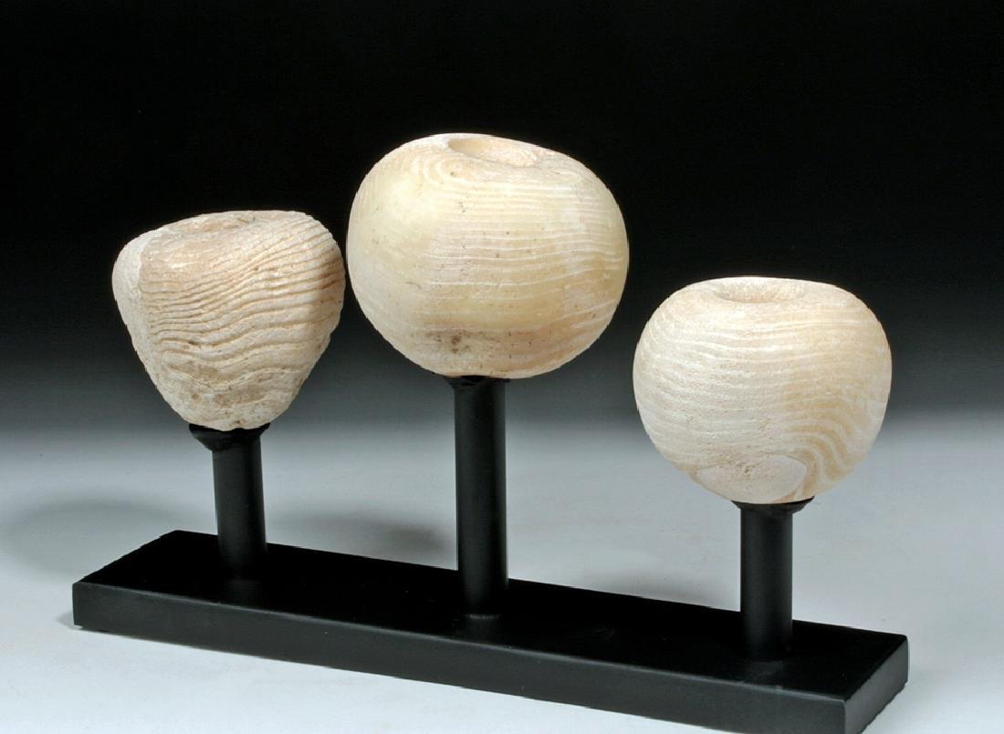 Trio of Egyptian Pre-Dynastic Alabaster Mace Heads