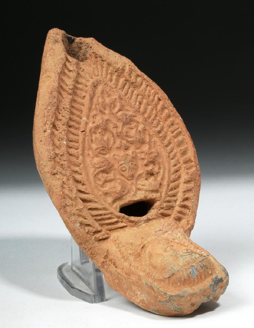 Romano Egyptian Erotic Terracotta Oil Lamp - 3