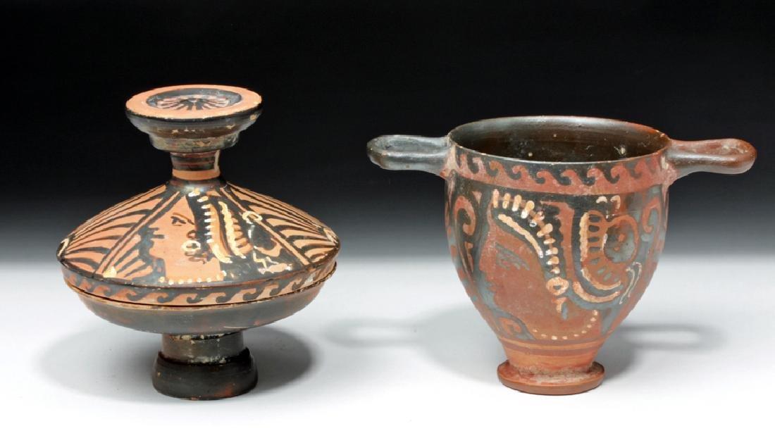 Pair of Greek Apulian Lady of Fashion Vessels
