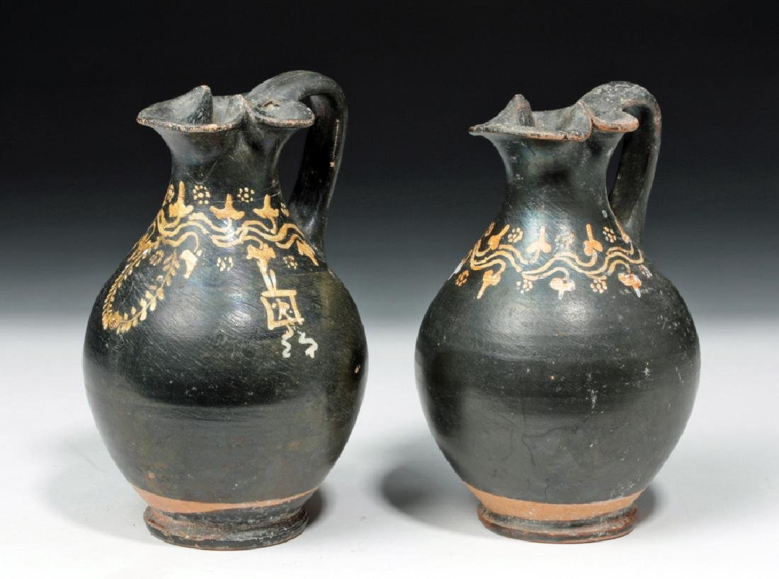 Pair of Greek Gnathian Pottery Oinochoes