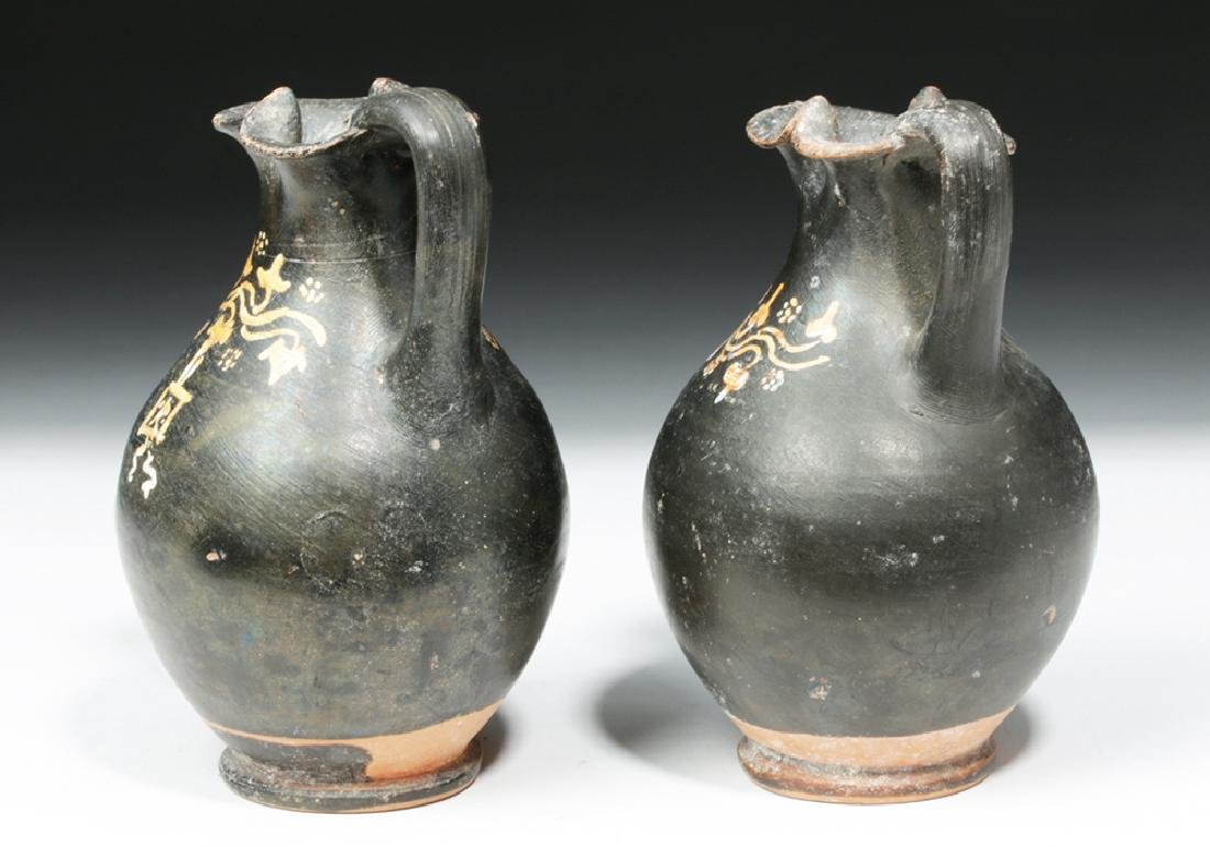 Pair of Greek Gnathian Pottery Oinochoes - 2