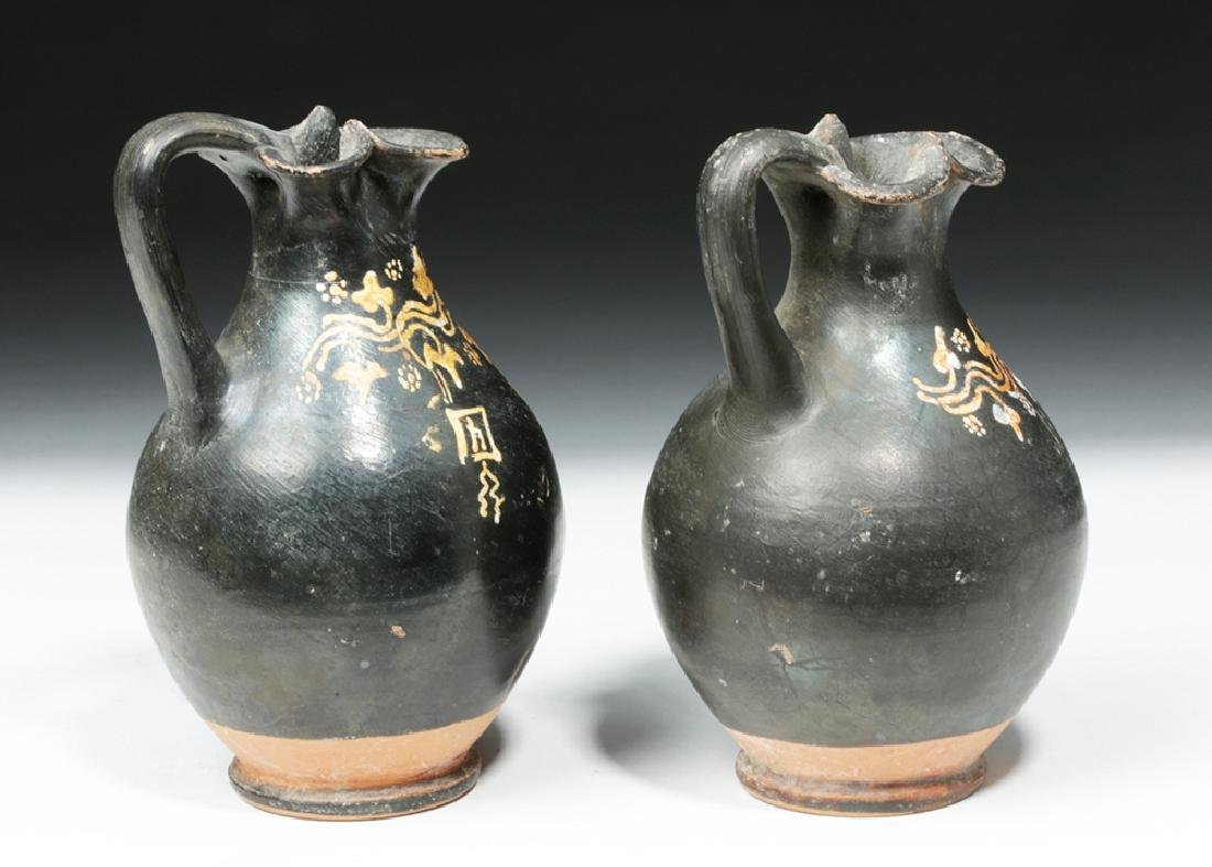 Pair of Greek Gnathian Pottery Oinochoes - 3