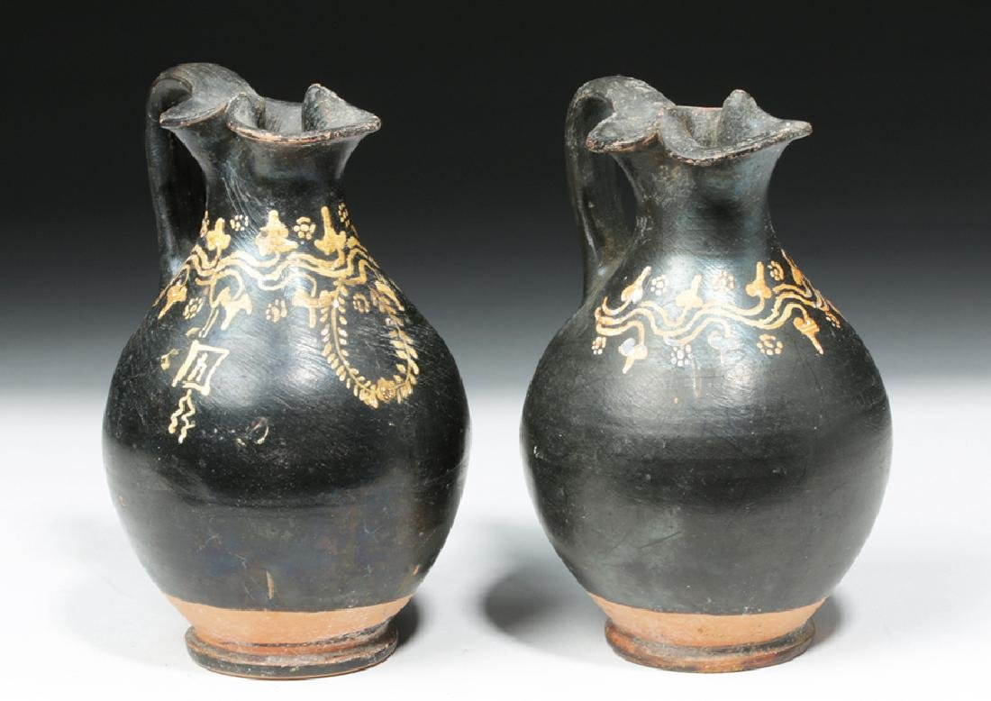 Pair of Greek Gnathian Pottery Oinochoes - 4