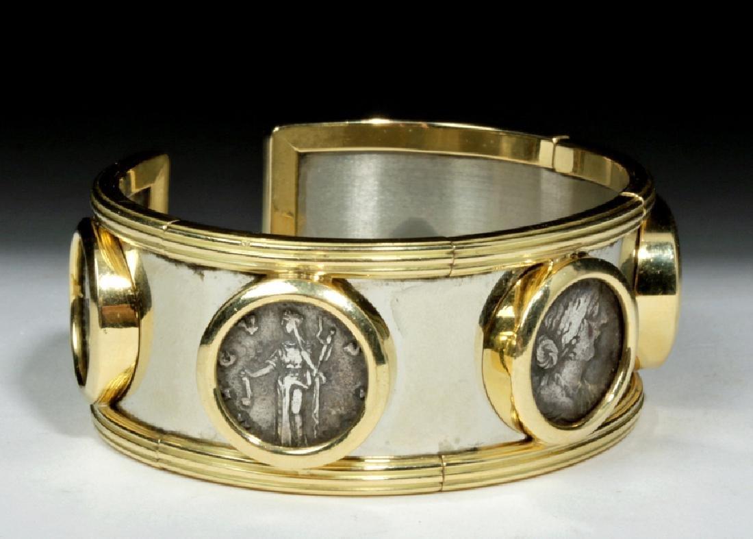 Classical Coins Custom Cuff Bracelet 18K Gold & Silver