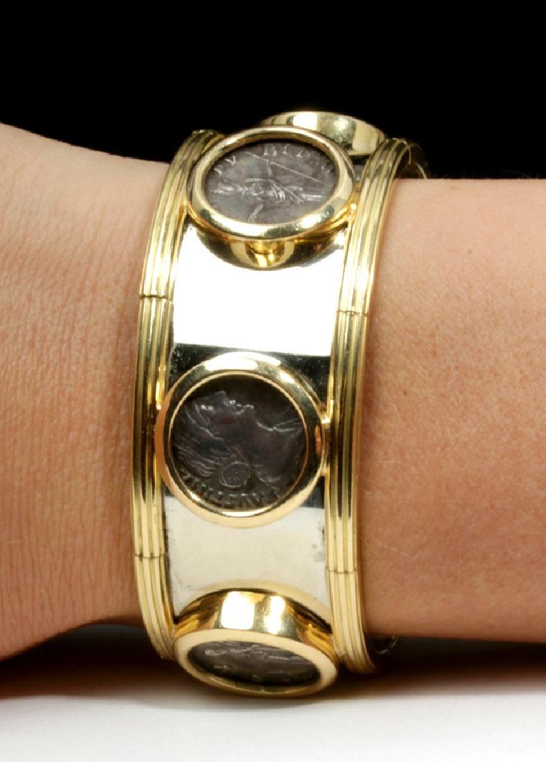 Classical Coins Custom Cuff Bracelet 18K Gold & Silver - 2
