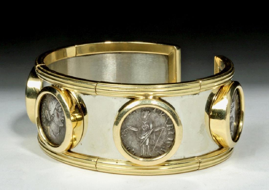 Classical Coins Custom Cuff Bracelet 18K Gold & Silver - 3