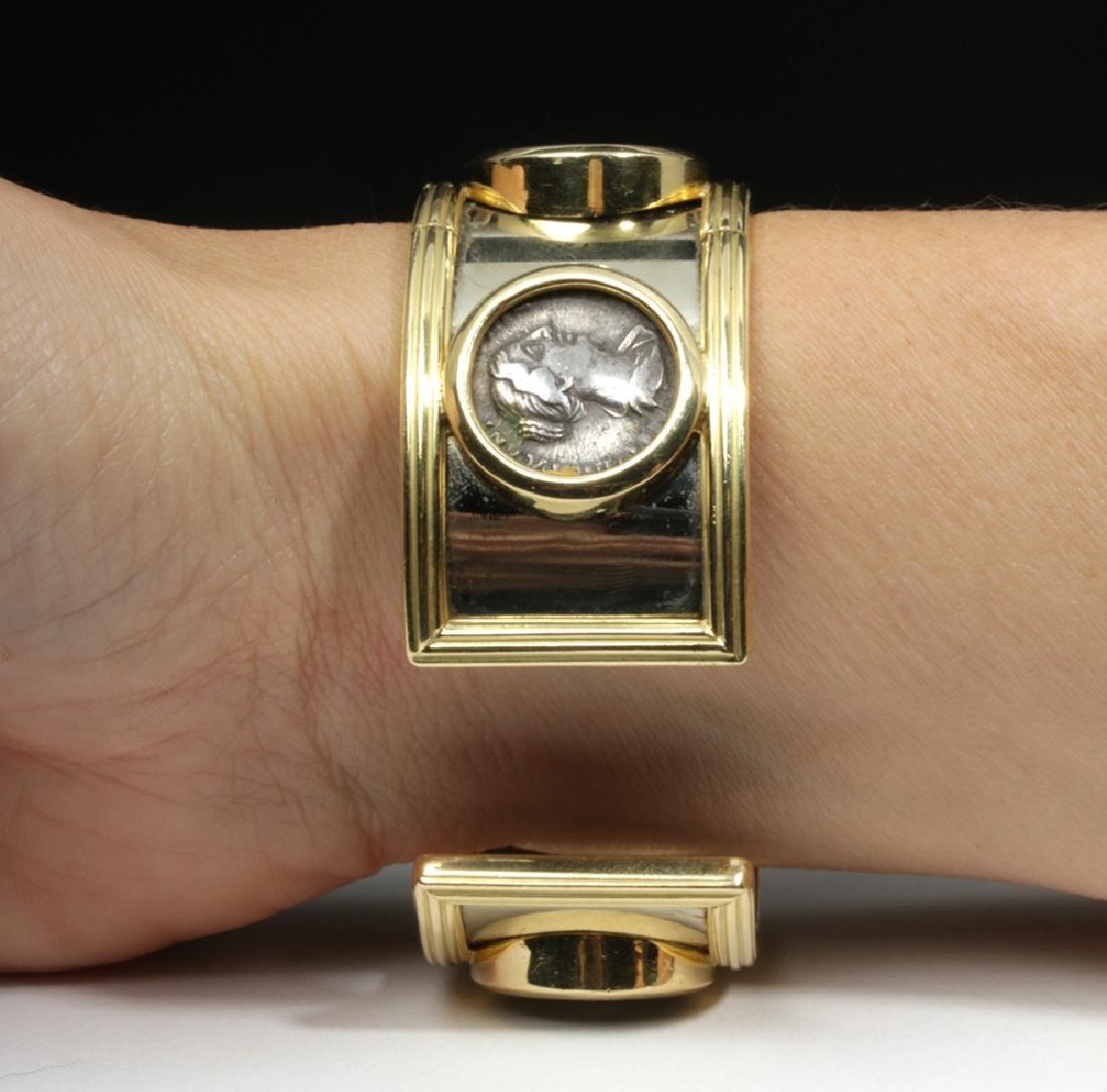 Classical Coins Custom Cuff Bracelet 18K Gold & Silver - 4