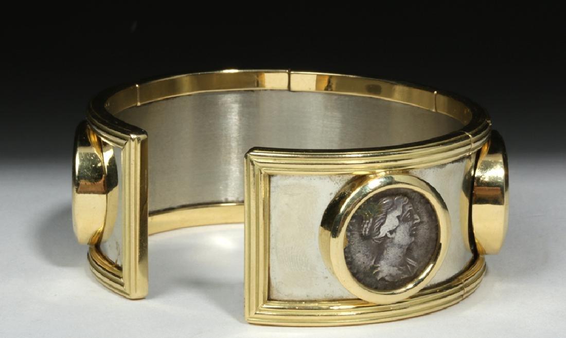 Classical Coins Custom Cuff Bracelet 18K Gold & Silver - 5