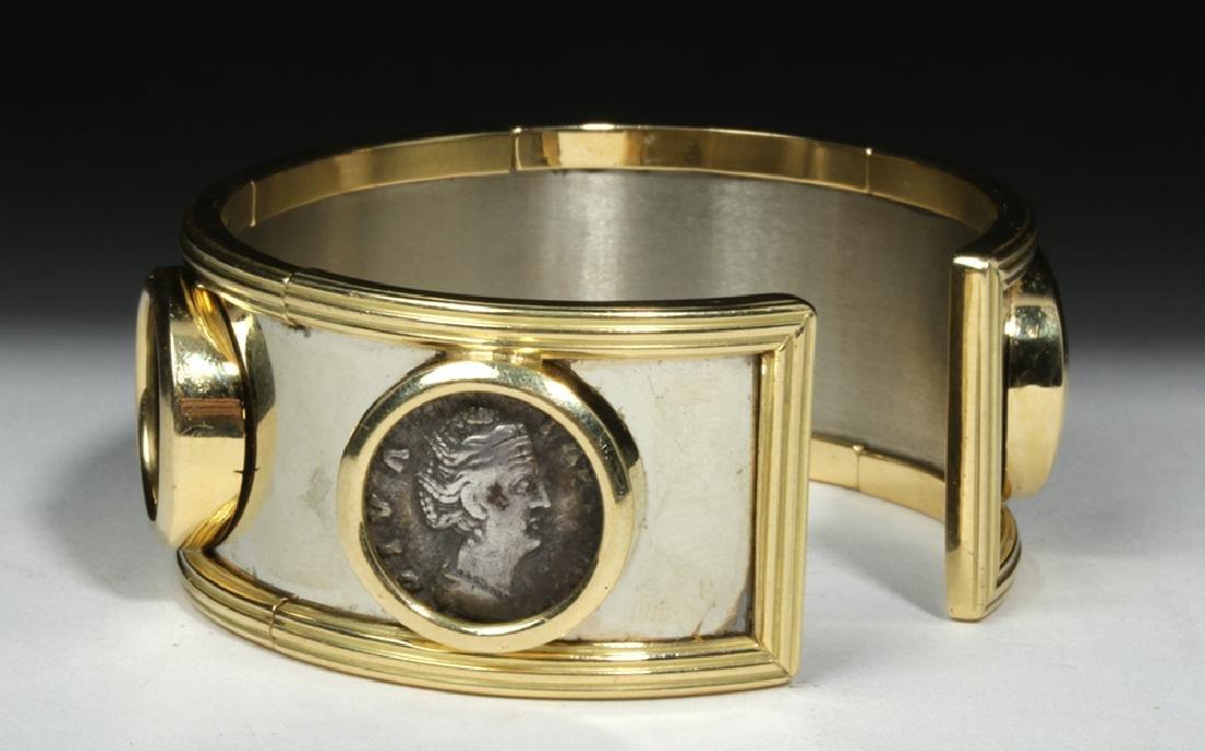 Classical Coins Custom Cuff Bracelet 18K Gold & Silver - 6