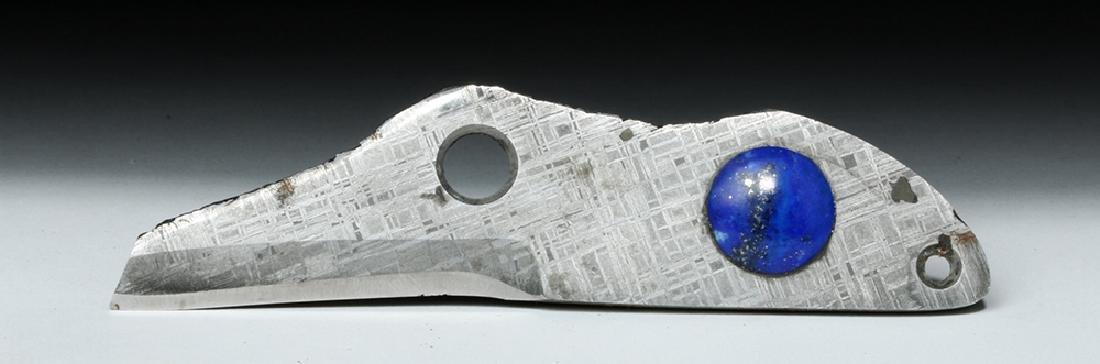 Custom Knife - Prehistoric Gibeon Meteorite w/ Lapis - 3