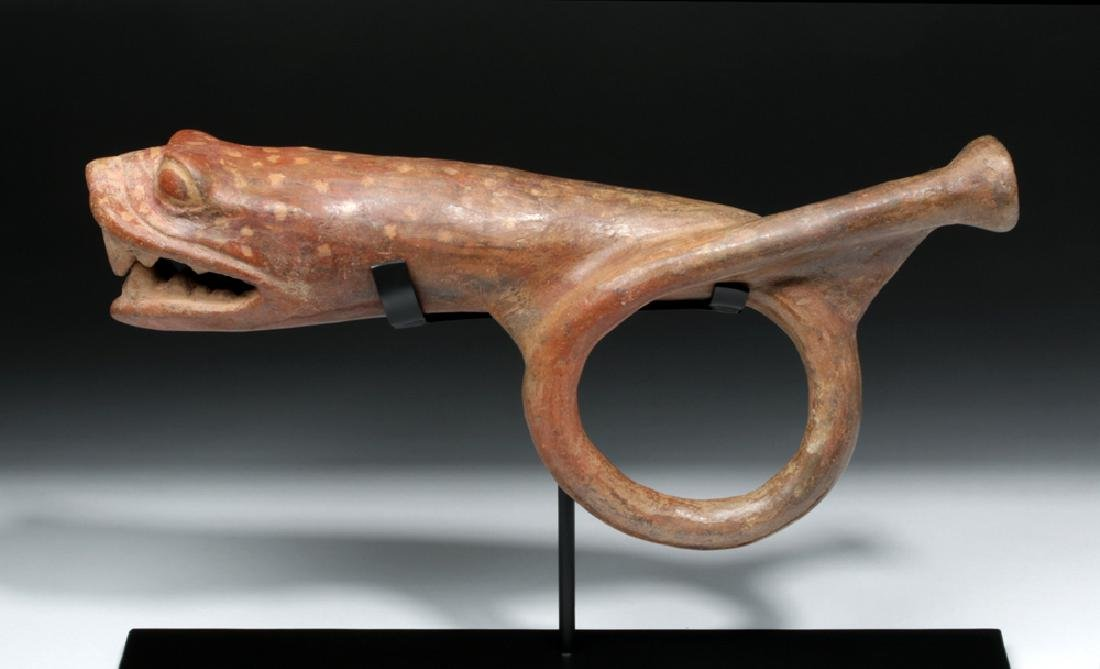 Rare Moche Pottery Horn in Jaguar / Serpent Form - 2