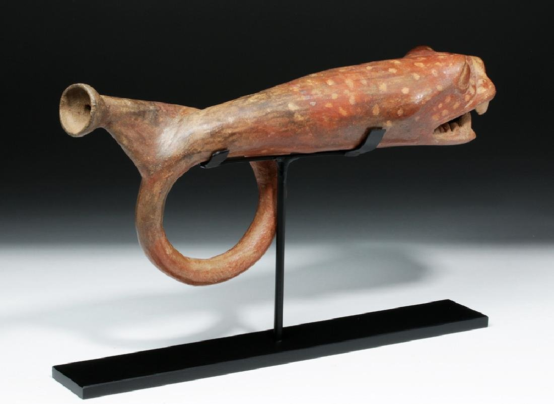 Rare Moche Pottery Horn in Jaguar / Serpent Form - 4