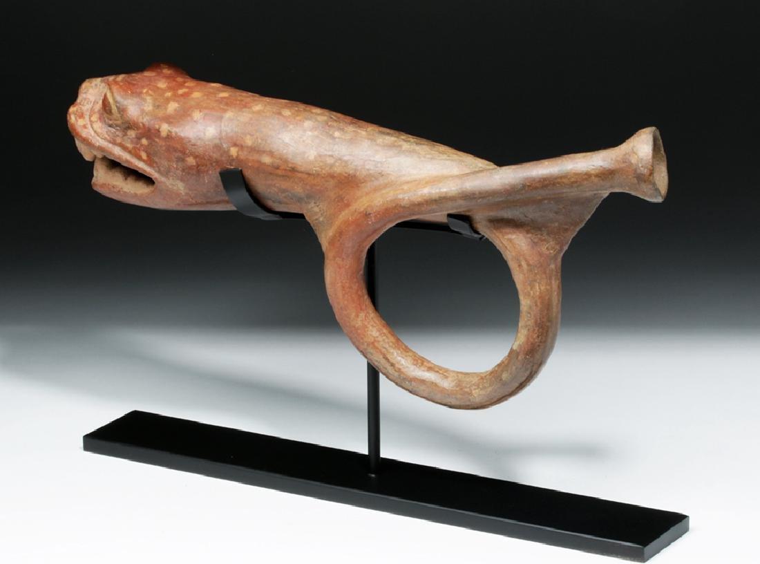 Rare Moche Pottery Horn in Jaguar / Serpent Form - 5