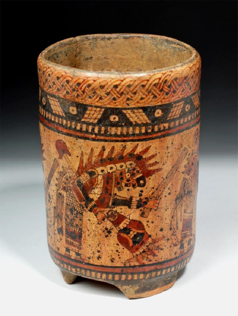 Mayan Ulua Valley Polychrome Cylinder - Dancers