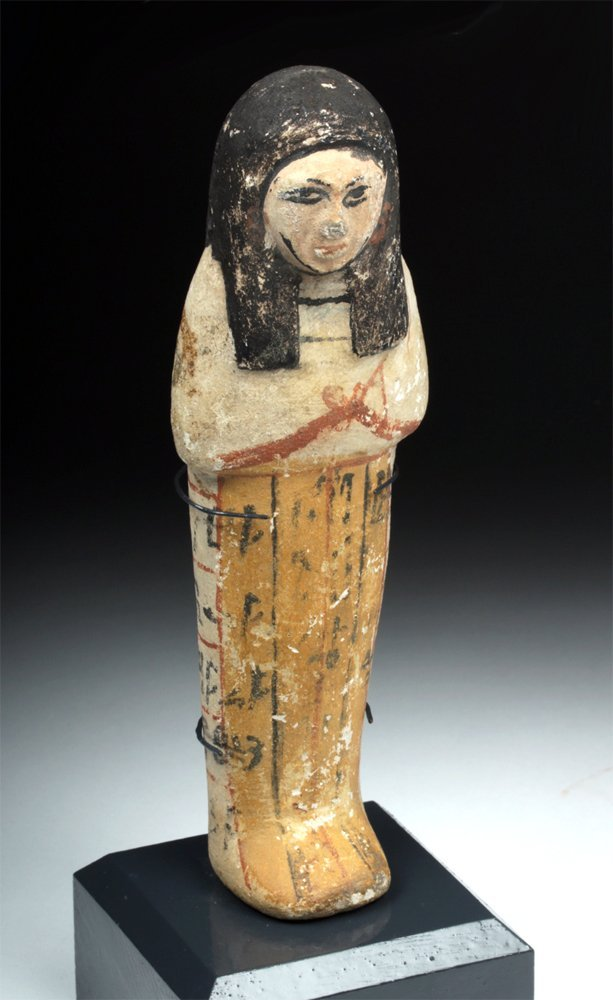 Egyptian New Kingdom Polychrome Limestone Ushabti
