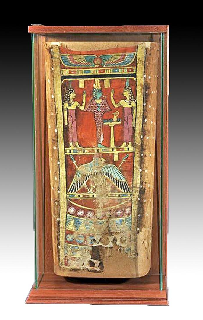 Egyptian Late Period Painted Linen Mummy Wrapping
