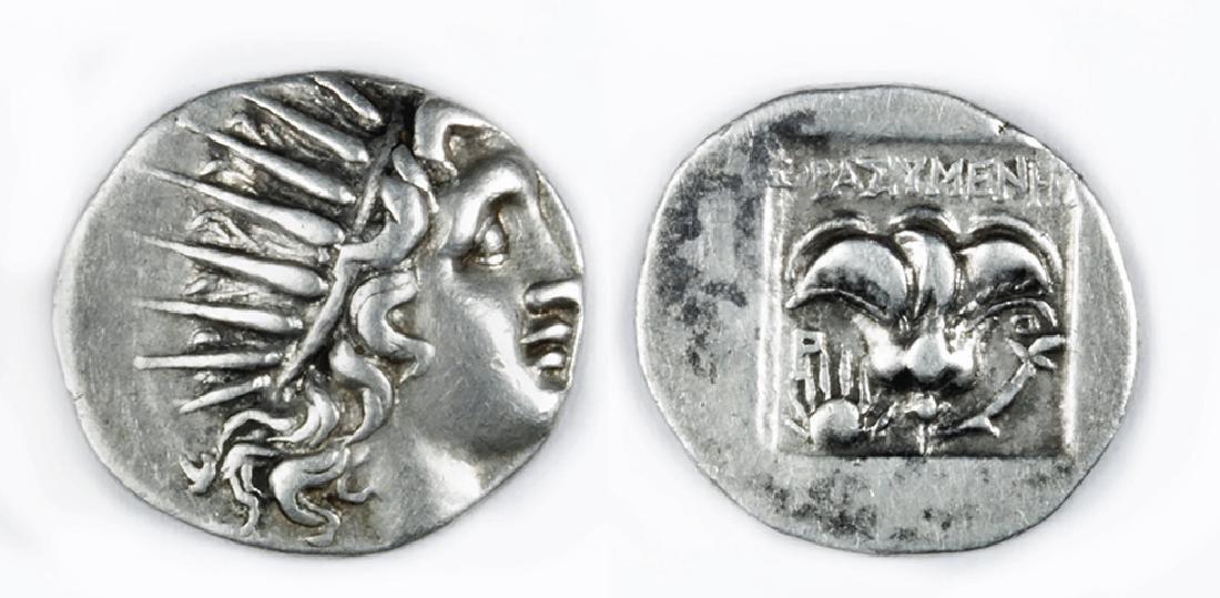 Choice Silver Drachm From Caria - Helios Radiate