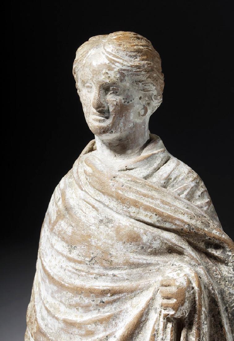Greek Boetian Tanagra Pottery Female Figure