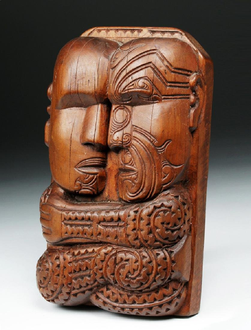 Published Early 20th C. Maori Carved Wood Couple