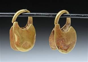 Pair of Roman 18K Gold Earrings 45 grams