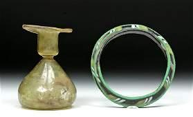Roman Glass Bracelet & Sprinkler Flask