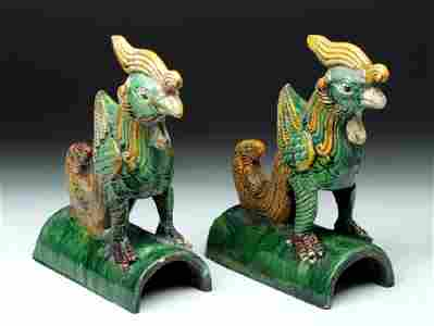 Chinese Qing Ceramic Roof Tiles - Fenghuang (Bird)