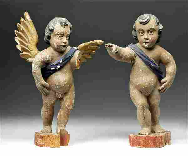 18th C. Spanish Colonial Painted Wood Angels
