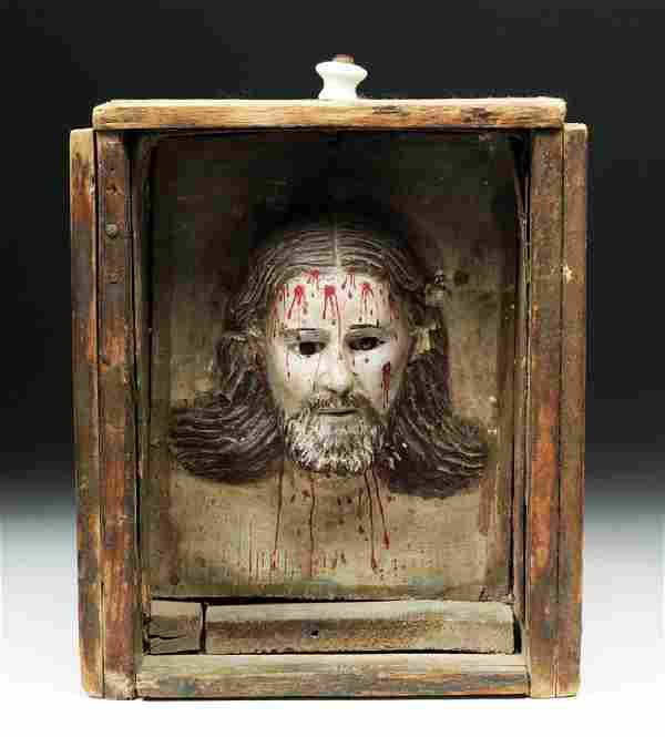 19th C. Mexican Head of Christ Mounted in Wooden Drawer
