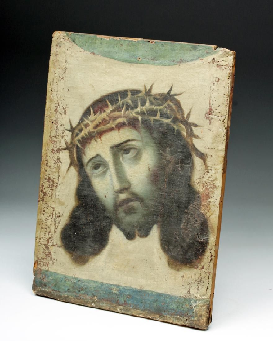 19th C. Mexican Christ Crowned w/ Thorns Painting