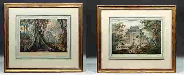 Pair 19th c. French Hand-Colored Lithographs