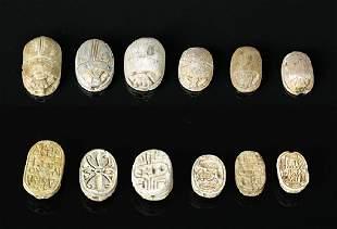 Lot of 6 Very Fine Egyptian Steatite Scarabs