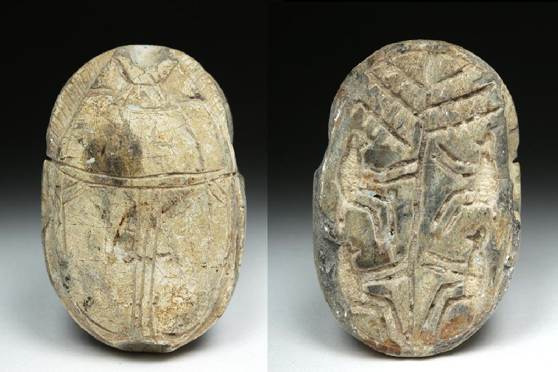 Large Egyptian Steatite Heart Scarab