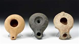 Trio of GraecoRoman Pottery Oil Lamps