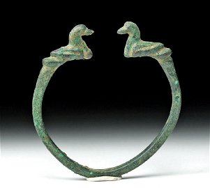 Central Asian Bronze Bracelet with Duck Terminals