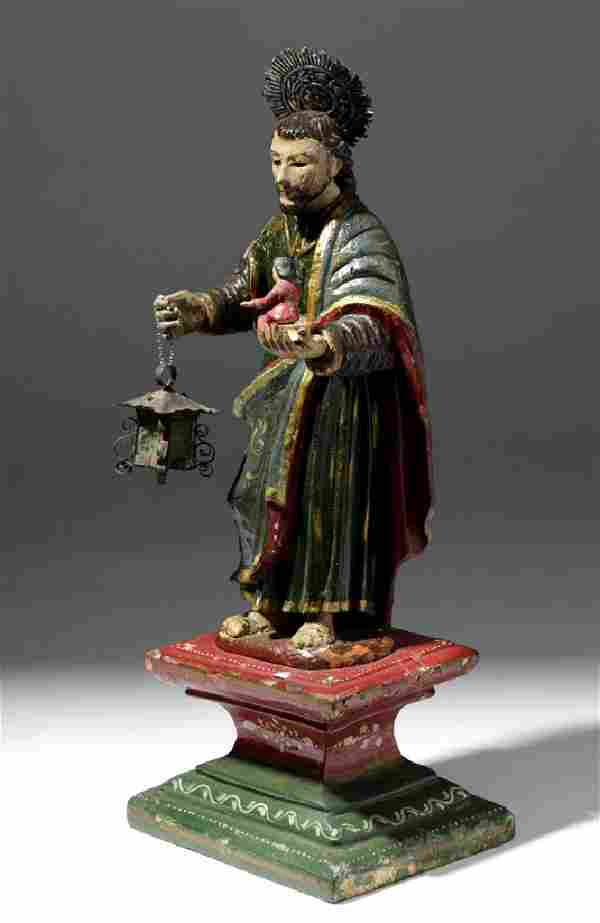19th C. Mexican Painted Wood Santo - Christ