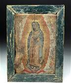 """18th C. Mexican """"Our Lady of Guadalupe"""" Painting"""