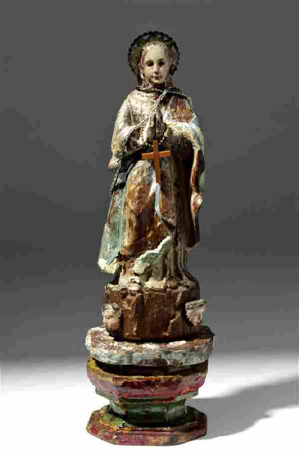 19th C. Mexican Wood Santo - Praying Virgin Mary