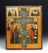 19th C. Russian Wooden Icon with Brass Crucifix