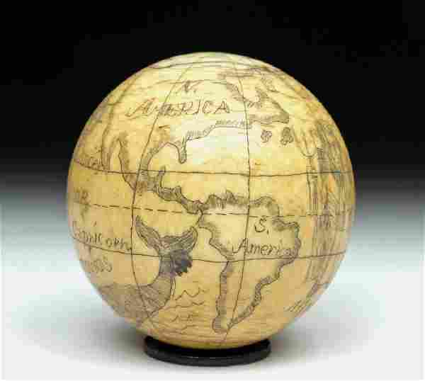 Late 18th C. Miniature British Scrimshaw Globe