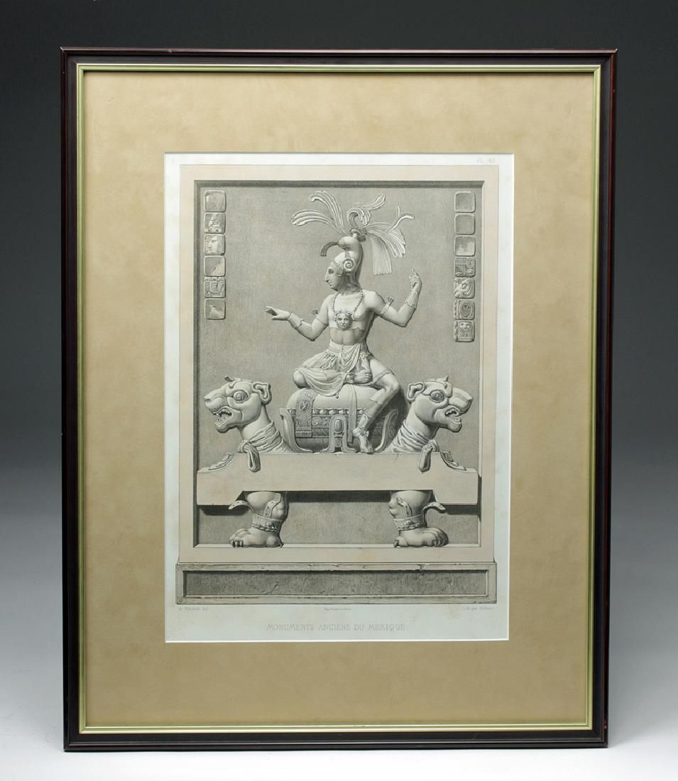 19th C. French Lithograph of Mexican Monument - Waldeck