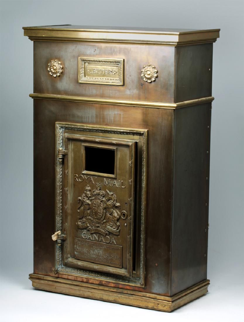 Large Early 20th C. Canadian Brass Mail Box - Cutler