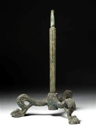 Huge Heavy Roman Bronze Base for an Oil Lamp