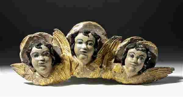 19th C. European Gilded Wood Bulto - Angel Heads