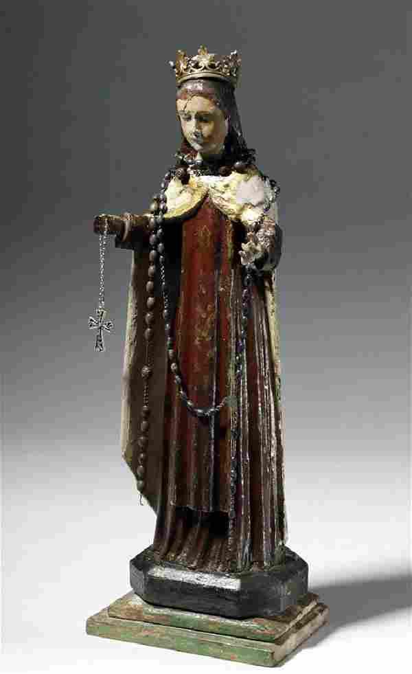 19th C. Mexican Wood Santo of St. Rosalia de Palermo