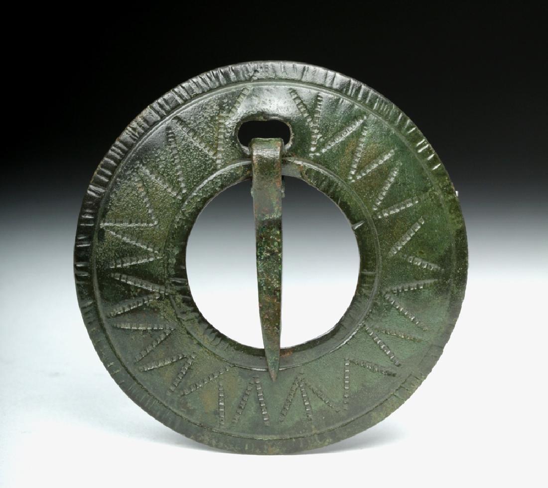 Ancient Viking Bronze Brooch, Circular Form