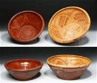 Pair of 19th C Spanish Glazed Decorated Pottery Bowls