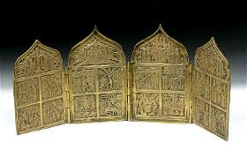 19th C. Russian 4-Panel Brass Traveling Icon