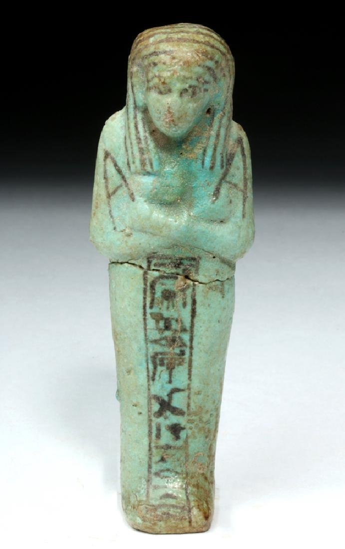 Egyptian Faience Ushabti, Black Painted Hieroglyphs