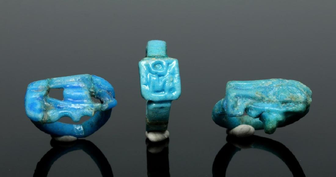 Trio of Egyptian Faience Rings - Wadjet Eyes, Sun Disc